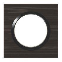 Plaque carrée dooxie 1 poste finition effet bois ébène (600881)