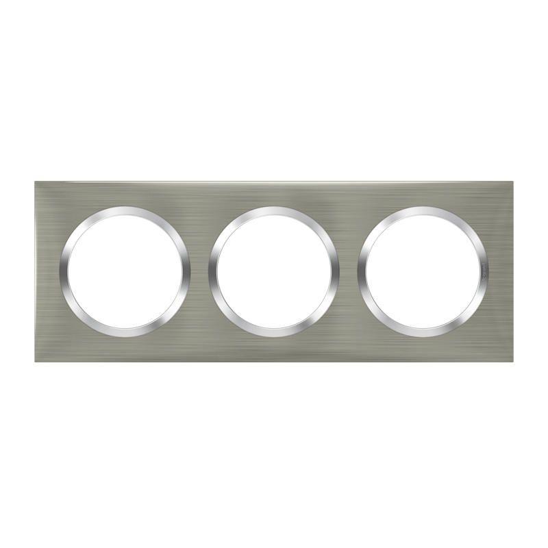 Plaque carrée dooxie 3 postes finition effet inox brossé (600873)