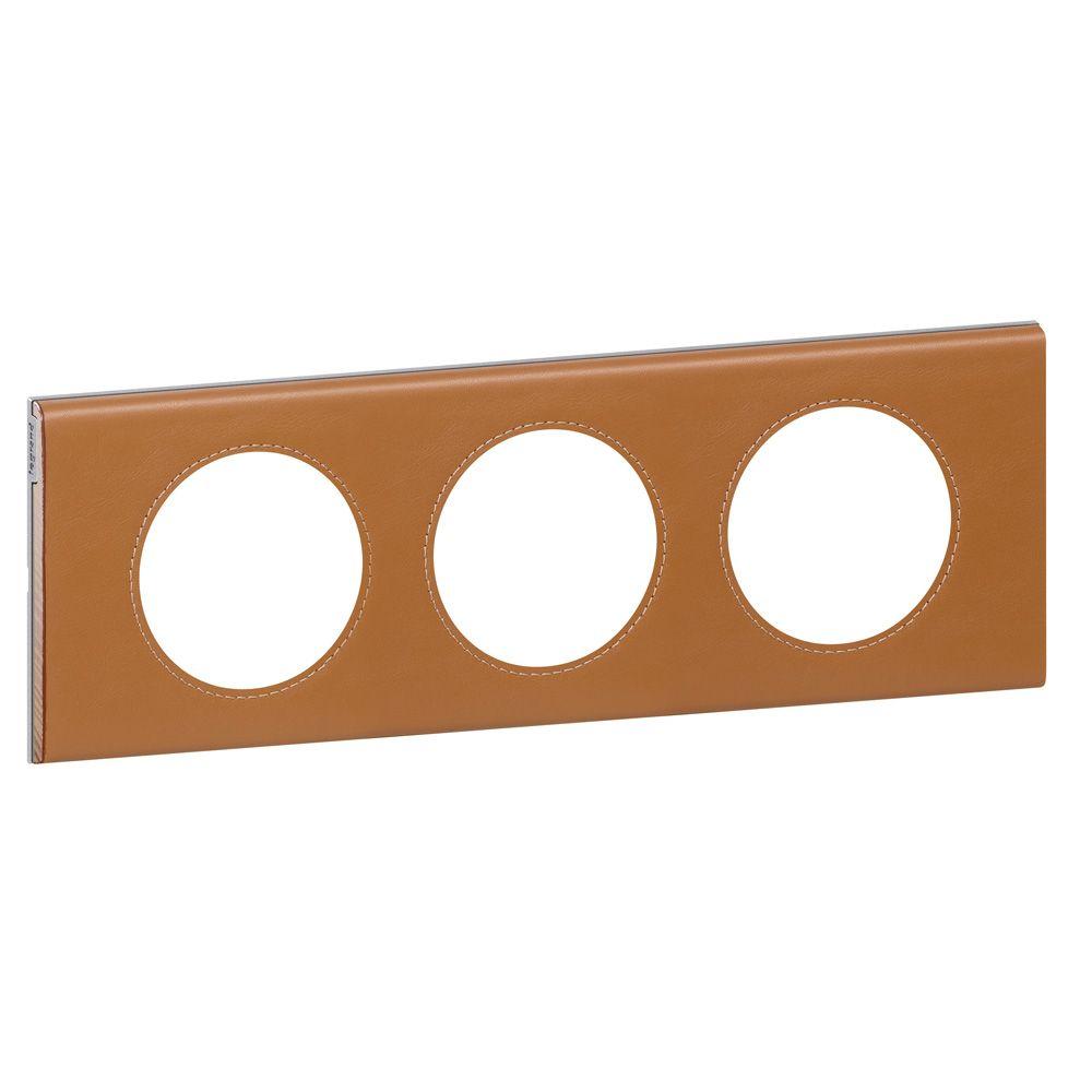 Plaque Céliane - Matières - 3 postes - Cuir Caramel