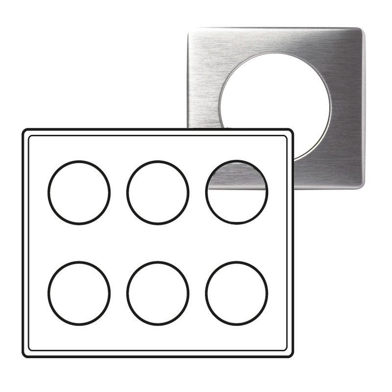 Plaque Céliane - Métal - 2 x 3 postes - Aluminium