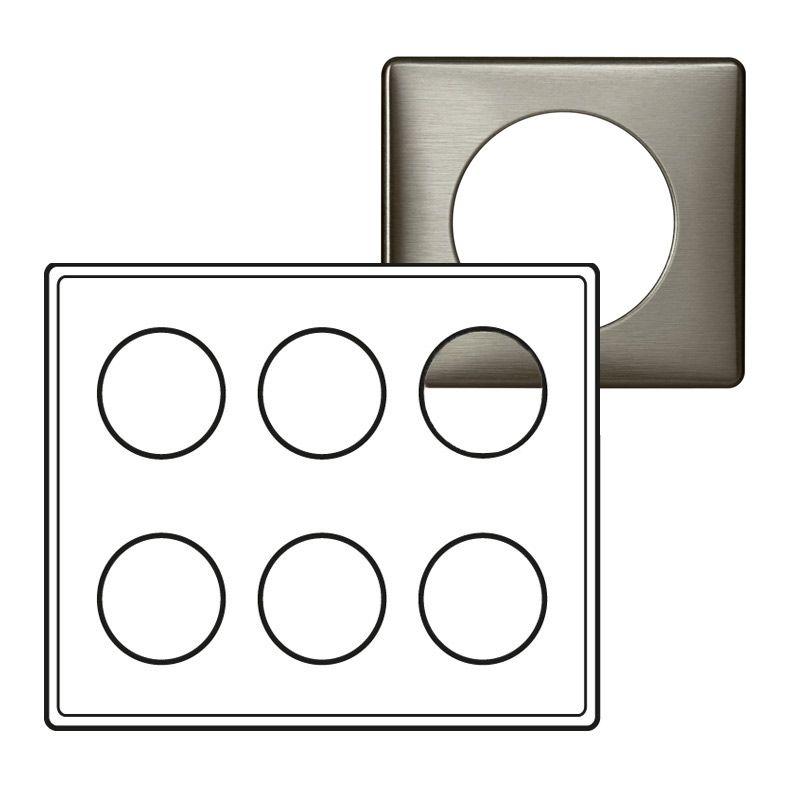 Plaque Céliane - Métal - 2 x 3 postes - Tungstène