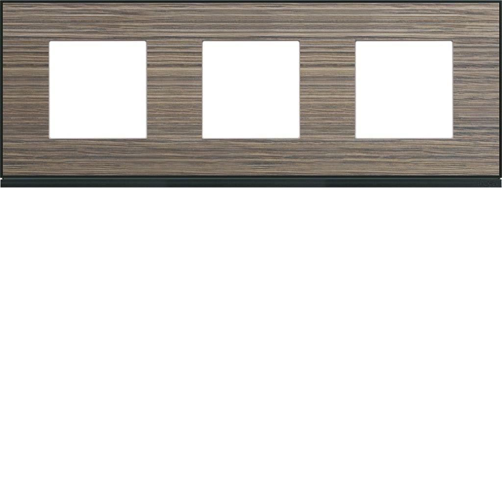 Plaque gallery 3 postes horizontale 71mm pecan (WXP2413)