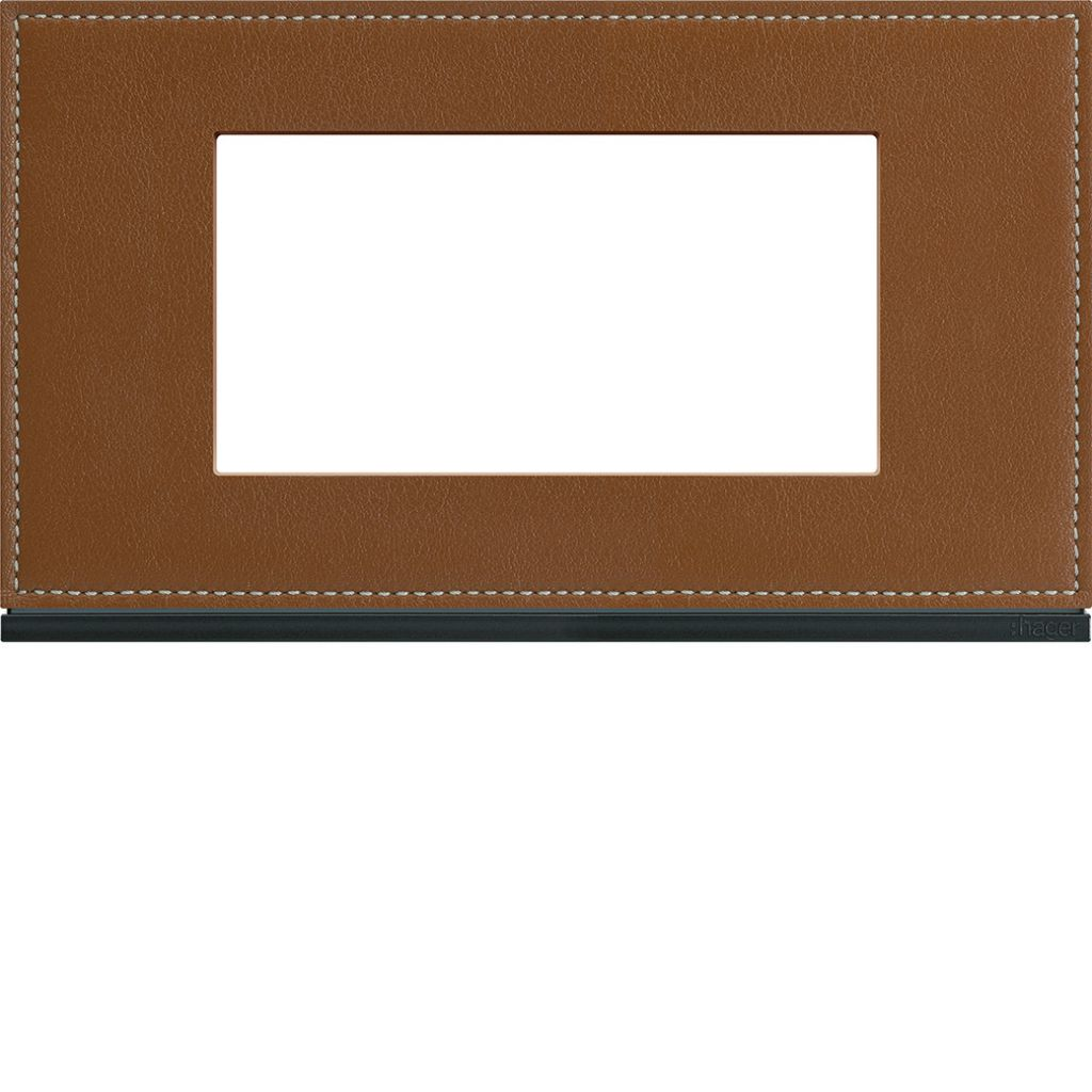 Plaque gallery 4 modules entraxe 57mm matiere coffee leather (WXP4934)