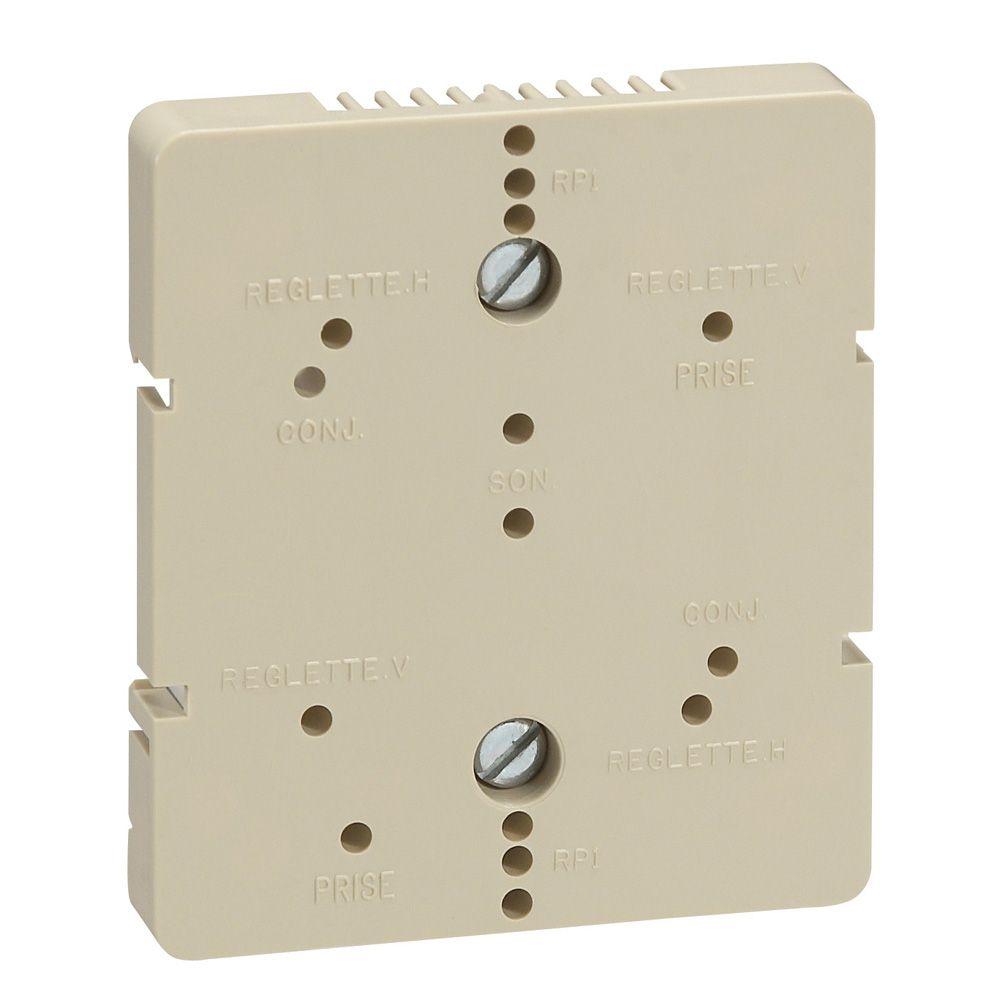 Platine support réglette 12 plts ou répartiteur TV 4 sorties - fixation rail DIN