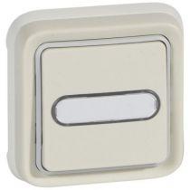 Poussoir NO + NF lumineux Prog Plexo complet encastré blanc - 10 A