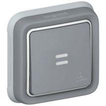 Poussoir NO + NF Prog Plexo complet encastré gris - 10 A