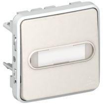 Poussoir NO lumineux porte-étiquette Prog Plexo composable blanc - 10 A