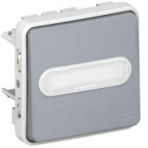 Poussoir NO lumineux porte-étiquette Prog Plexo composable gris - 10 A