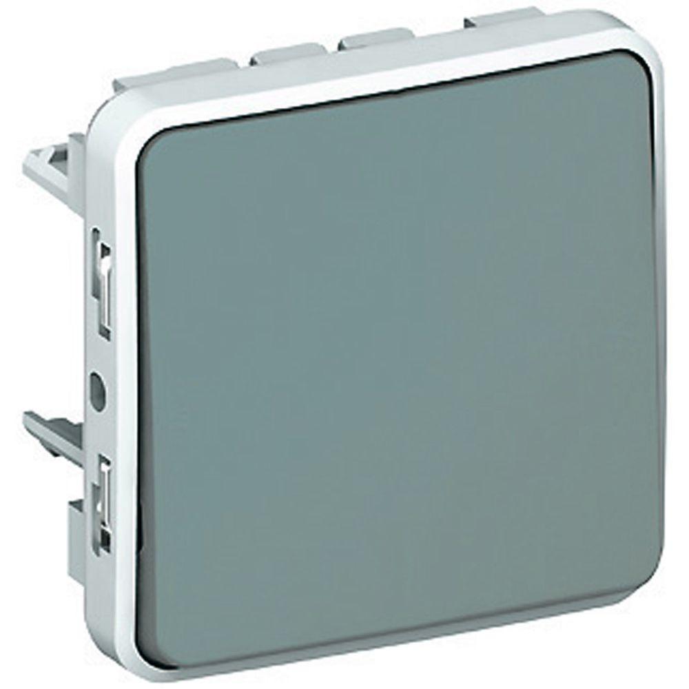 Poussoir NO+NF Prog Plexo composable gris - 10 A