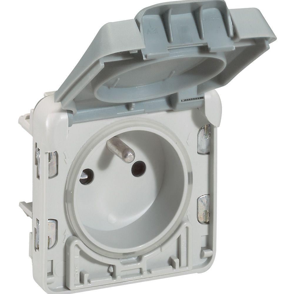 Prise 2P+T à volet ouverture auto Prog Plexo composable gris - 16 A - 250 V