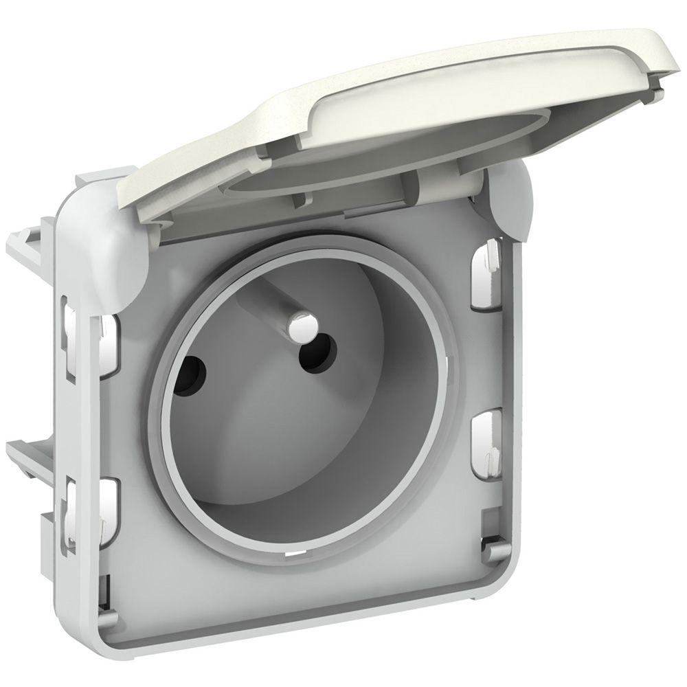 Prise 2P+T éclips de protection Prog Plexo composable blanc - 16 A - 250 V