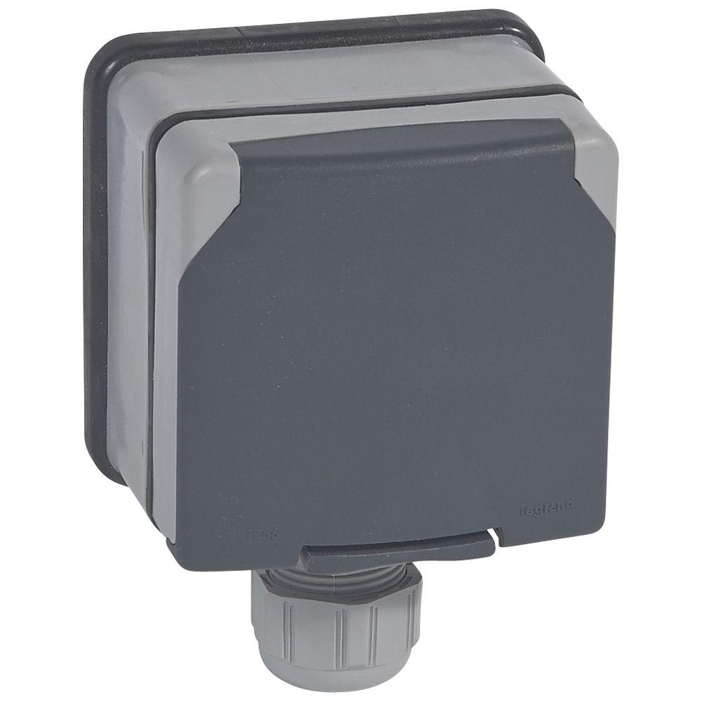 Prise 3P+T à volet - 20 A - 400 V~ - Plexo 66 monobloc gris - IP66/IK08