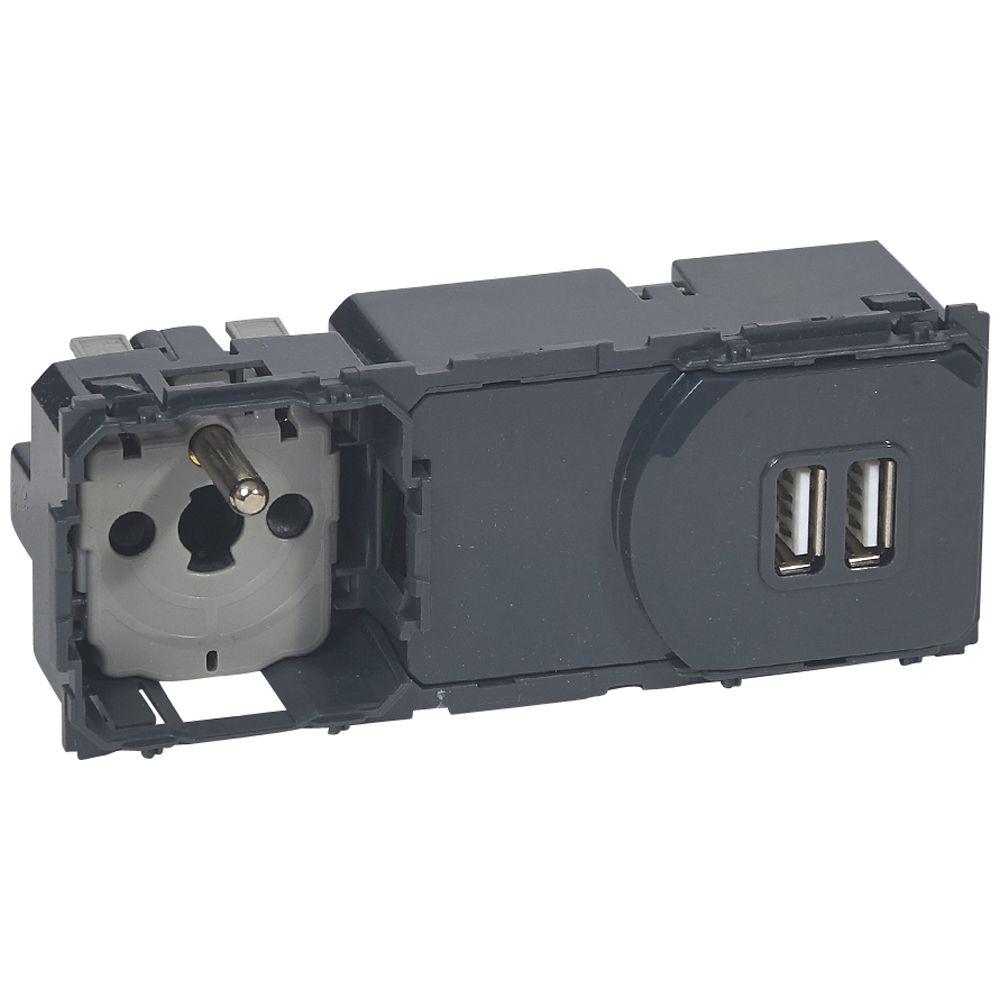 Prise de courant + chargeur universel 2 USB 2400 mA précâblées Céliane