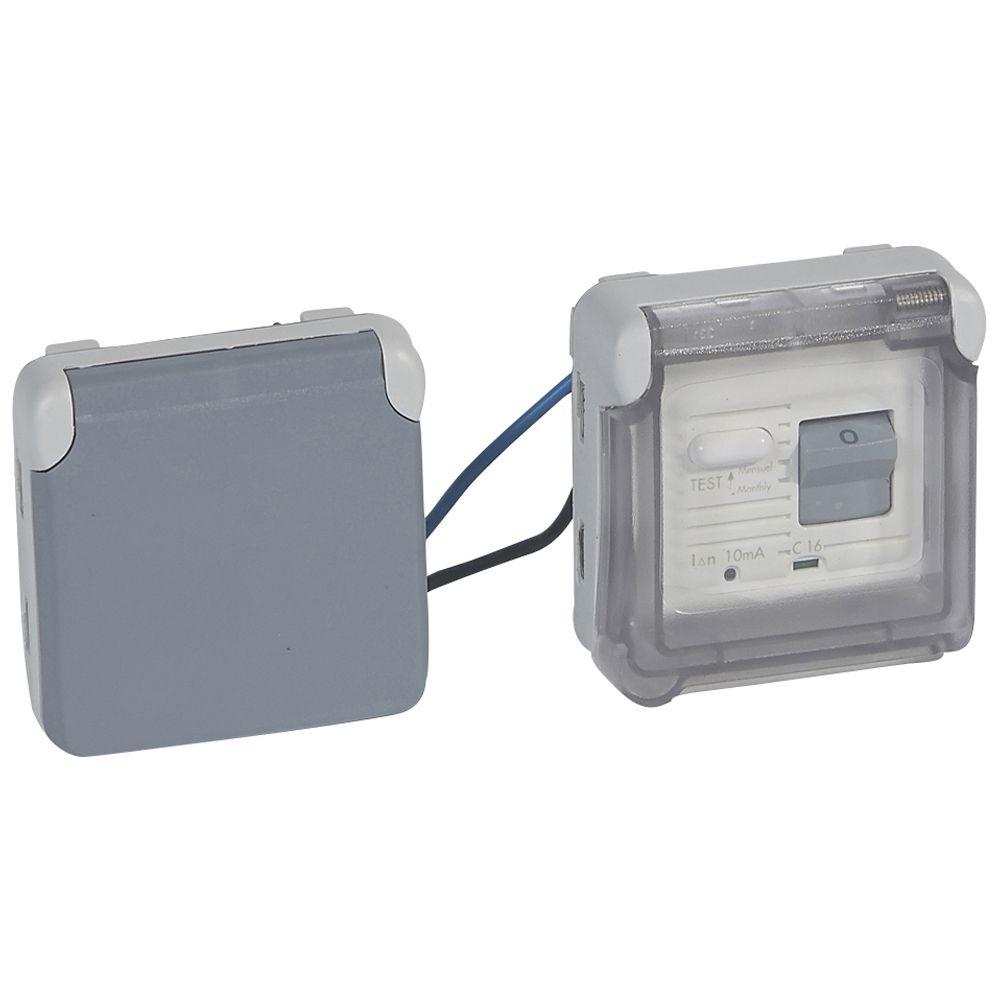 Prise différentielle 10 mA Prog Plexo composable gris - 16 A - 250 V