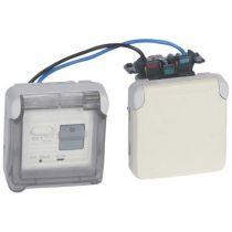Prise différentielle 30 mA Prog Plexo composable blanc - 16 A - 250 V