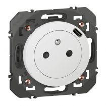 Prise Surface dooxie avec chargeur Type-C intégré en face avant de la prise finition blanc (600341)