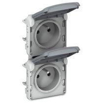 Prises 2x2P+T vertical précâblées Prog Plexo composable gris - 16 A - 250 V