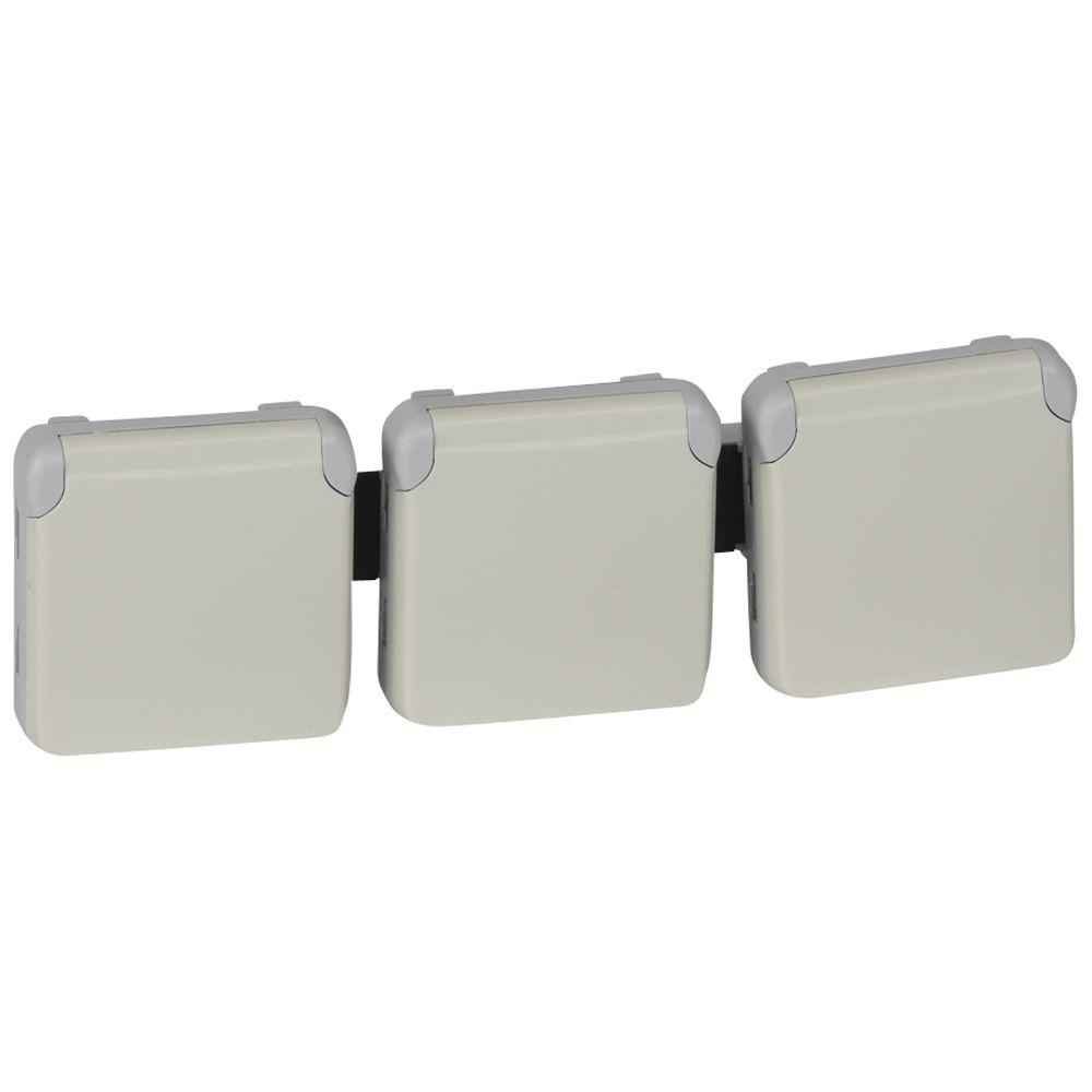Prises 3x2P+T horizontal précâblées Prog Plexo composable blanc - 16 A - 250 V