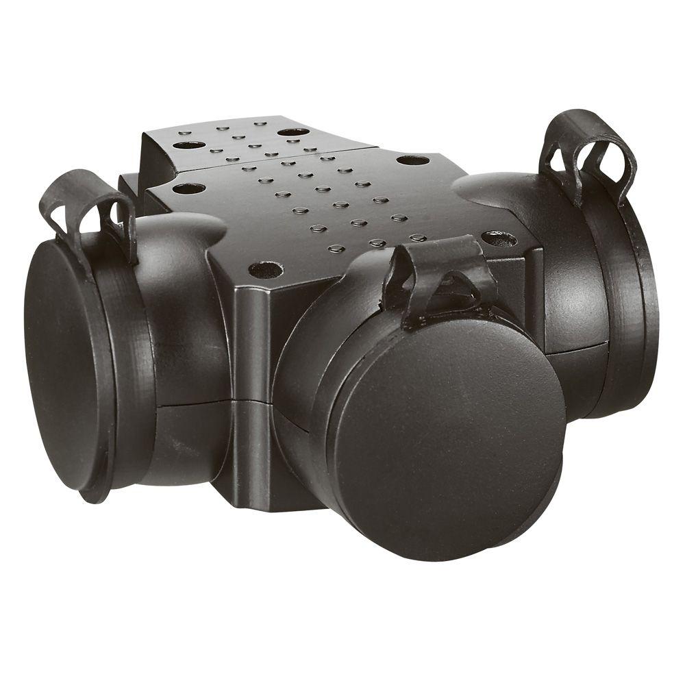 Prolongateur multiprise caout - 3x2P+T - 16 A - anneau de suspension - noir (050578)