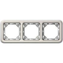 Support plaque - pour encastré Prog Plexo composable blanc - 3 postes horiz