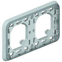 Support plaque - pour encastré Prog Plexo composable gris - 2 postes horiz