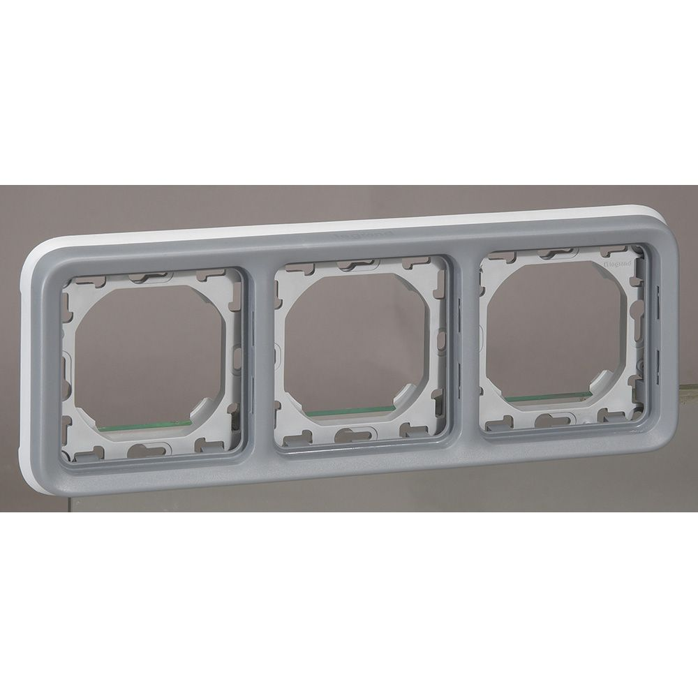 Support plaque - pour encastré Prog Plexo composable gris - 3 postes horiz