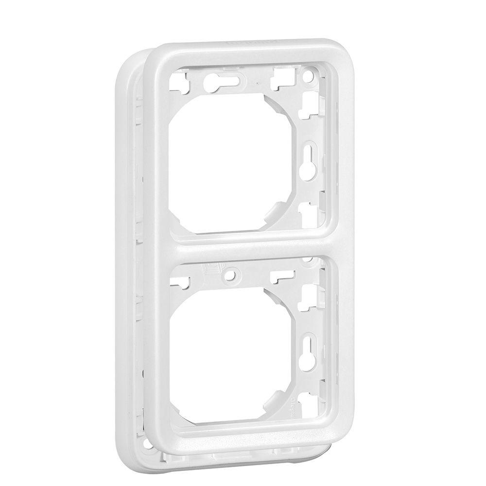 Support plaque Prog Plexo composable blanc Artic - 2 postes montage vert.