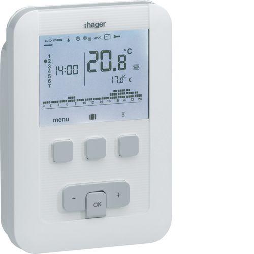 Thermostat ambiance programmable digital chauf eau chaude 2 fils sur 7j à piles (EK520)