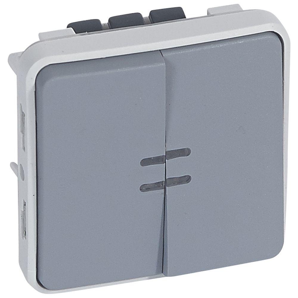Va-et-vient lumineux + poussoir lumineux Prog Plexo composable gris - 10 AX