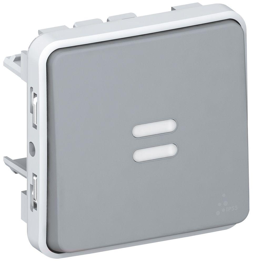Va-et-vient témoin Prog Plexo composable gris - 10 AX - câblage existant